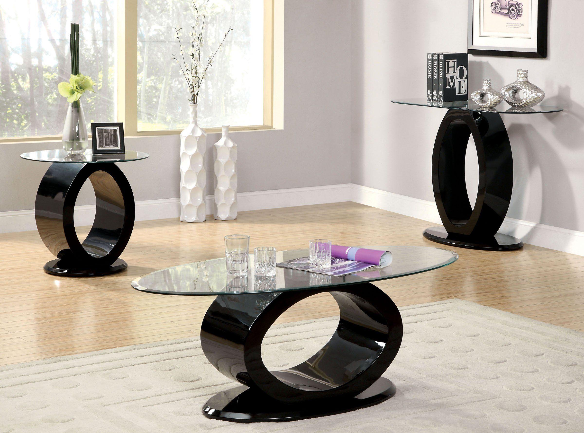 Furniture Of America Cm4825bk C Lodia 3 Pieces Black Coffee Table