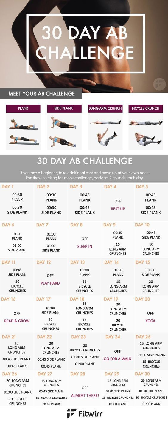 Banish your stomach fat with this 30 Day Ab Challenge. This 30 day ab workout challenge is designed...