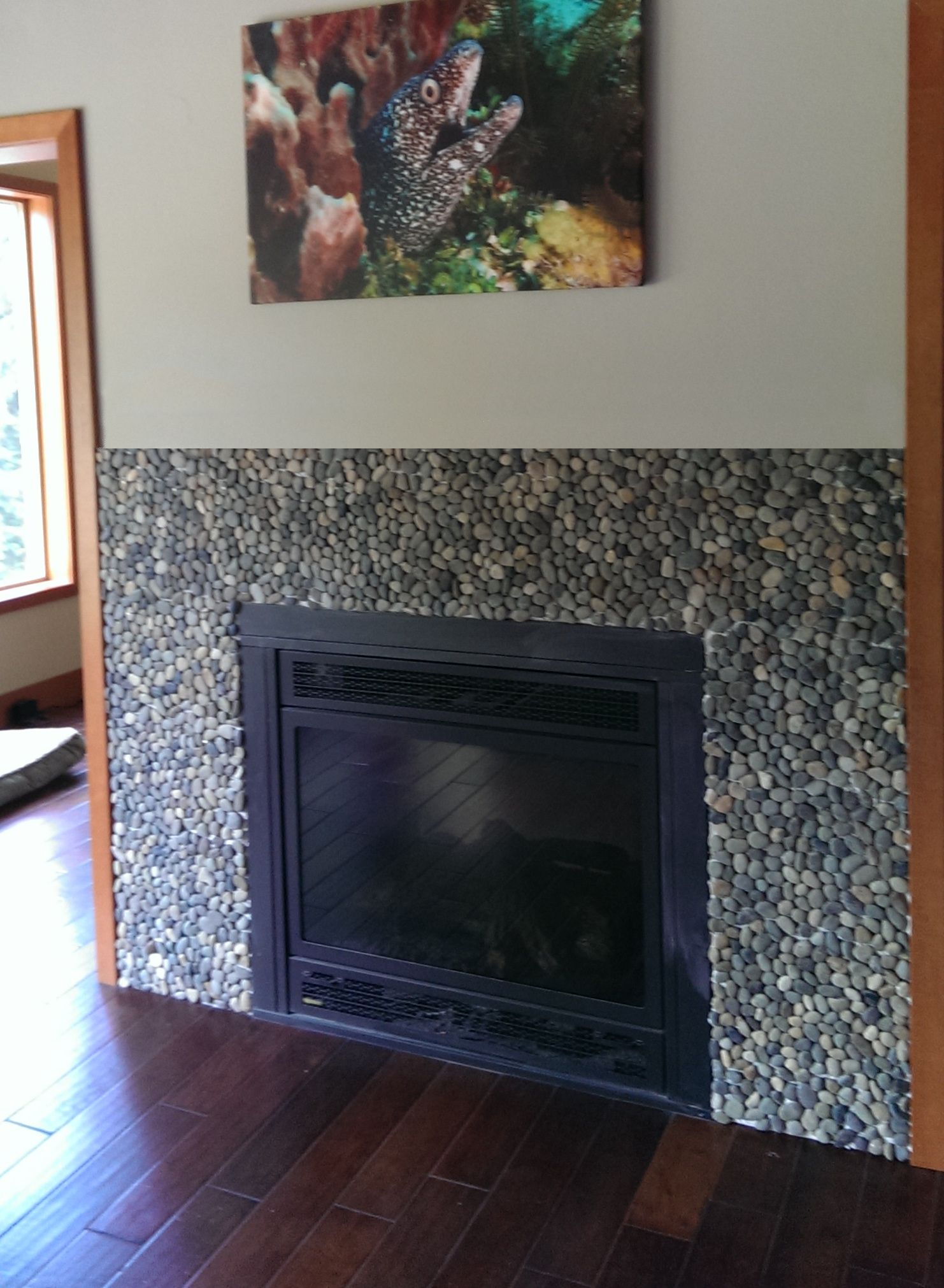 bali ocean pebble tile fireplace surround pebble tile shop