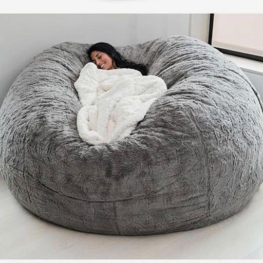 A Huge Bean Bag Chair Bed In 2020 Fluffy Bean Bag Chair Bean Bag Chair Oversized Bean Bag Chairs