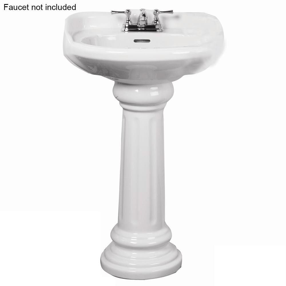 Pegasus Victoria 26 In Pedestal Combo Bathroom Sink For 4 In Centerset In White 3 754wh The Home Depot Pedestal Sink Sink Pedestal Sinks