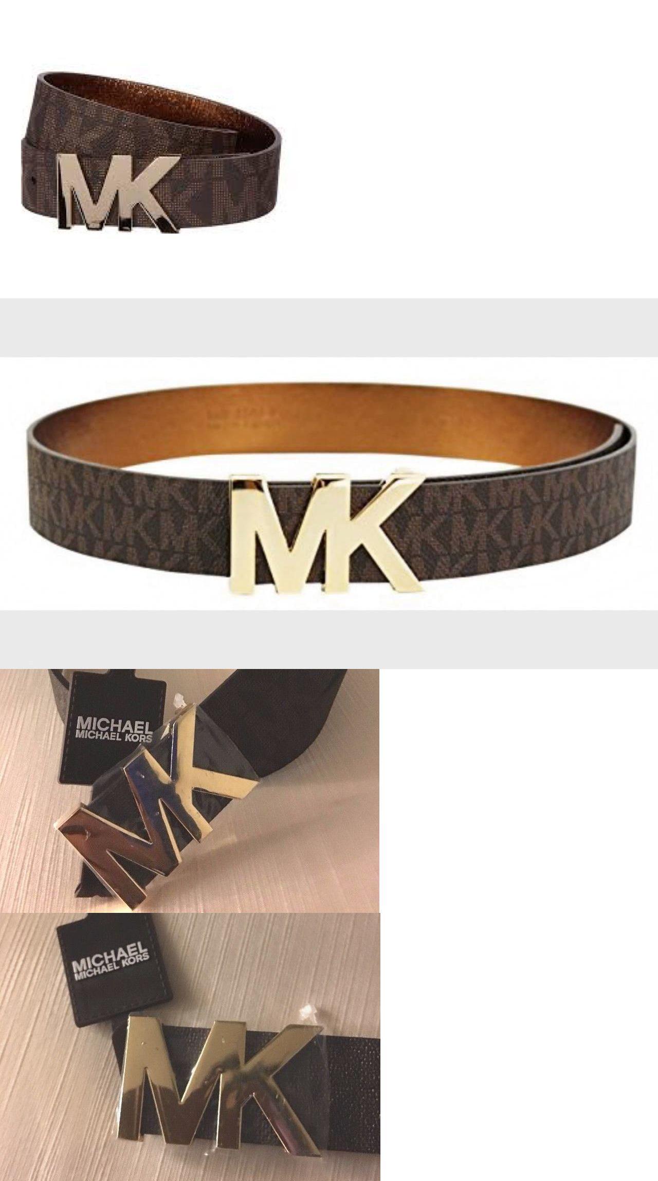 9e5bcd3f419f ... promo code for belts 2993 michael kors belt size m 32 36 brown  monogrammed gold mk