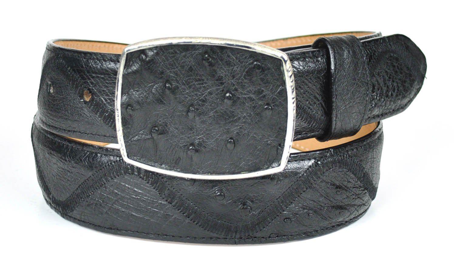 Gavel Men's Ostrich Zig Zag Belt Black