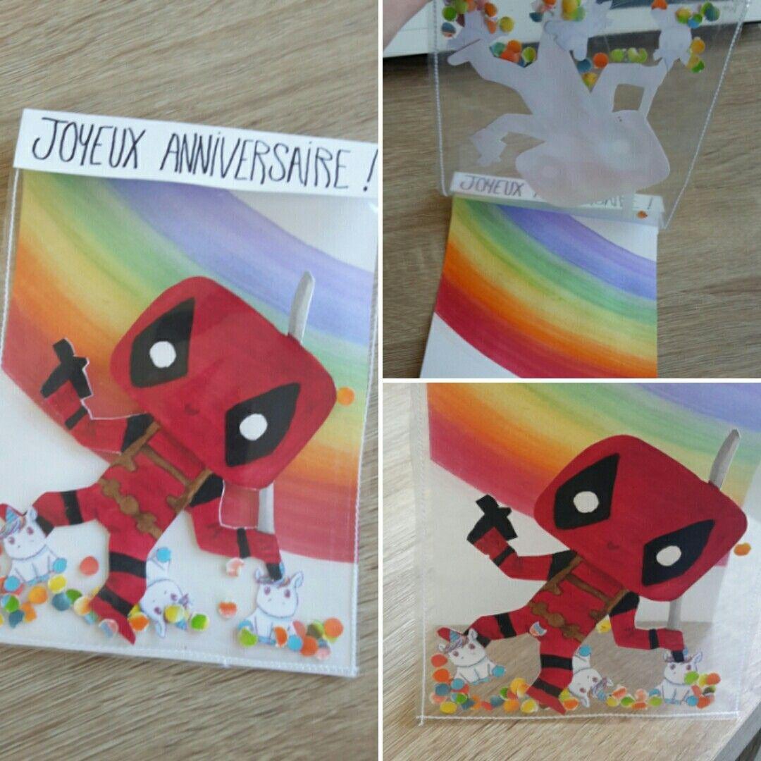 Nouveau format.  Watercoloe card - Deadpool/Licorne