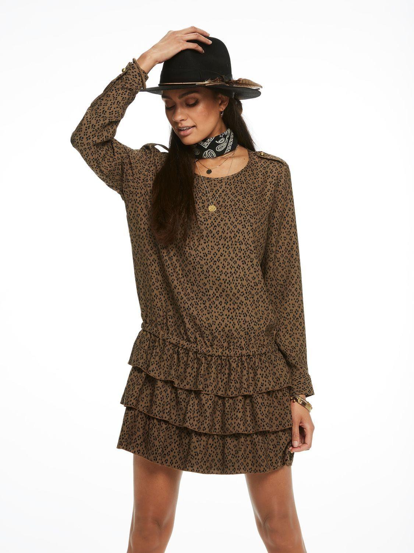 Ruchesjurk Met Verlaagde Taille Kleider Kleider Modestil Kleider