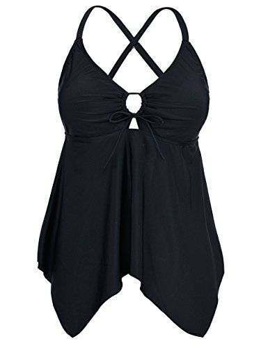 9fc1f70499423 Women's Tankini Swimsuits - Firpearl Womens Black Flowy Swimsuit Crossback  Plus Size Tankini Top ** Click on the image for additional details.