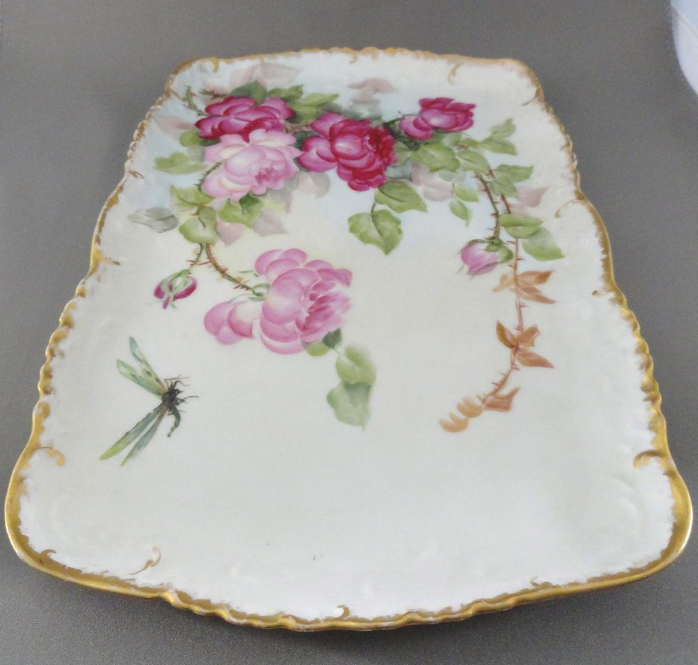 Antique T&V Limoges Dresser Tray, Artist Signed, Early 1900's. Good condition.