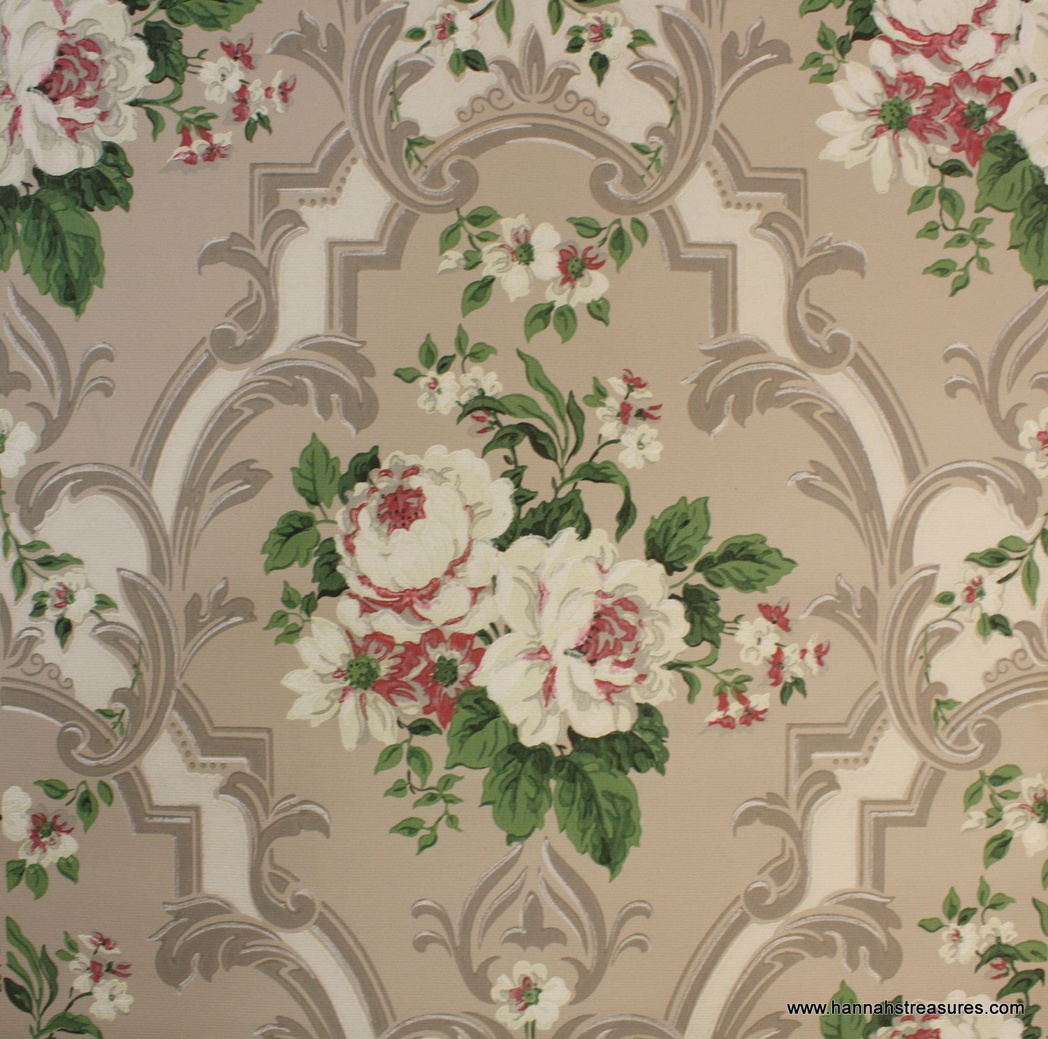 1940's Vintage Wallpaper White White and by