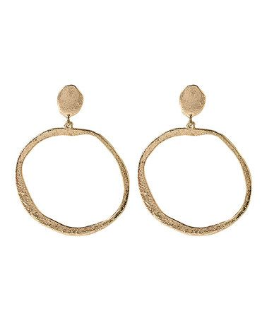 can't say no at this price! This Gold Hammered Polka Hoop Earrings by Amrita Singh is perfect! #zulilyfinds