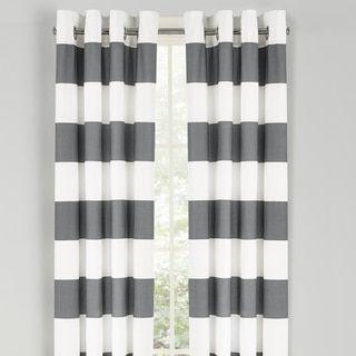 Nautica Cabana Stripe Cotton Grommet Top Curtain Panel Pair Cloud Grey Size 52 X 84