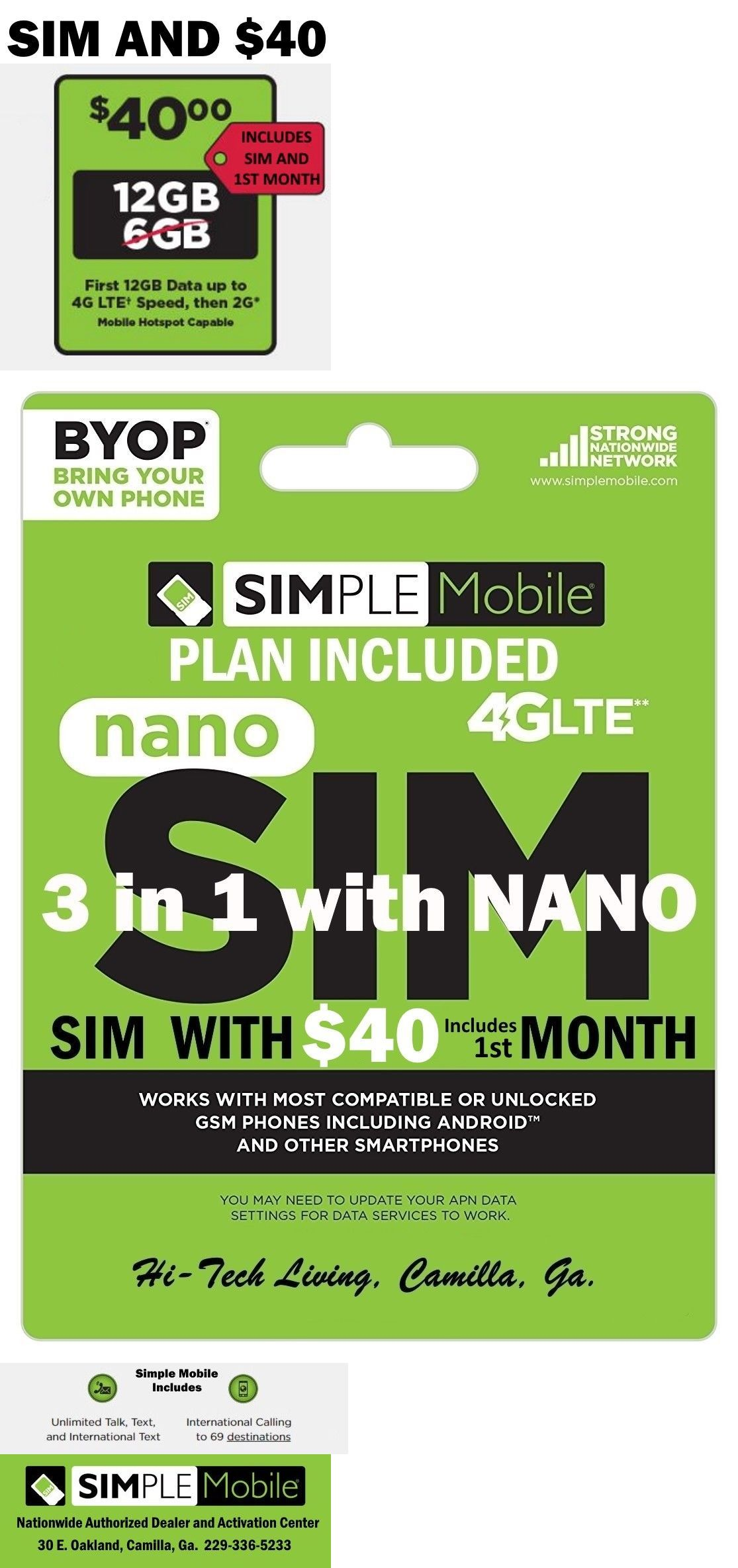 Details About Simple Mobile Sim Card 40 Plan Included 30 Days