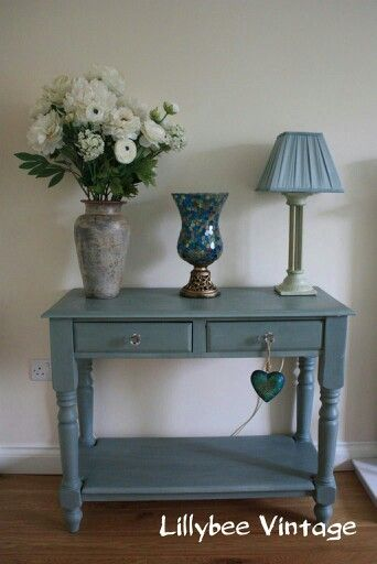 Lillybee Vintage Duck Egg Console Table Blue Painted Furniture Annie Sloan Furniture Painted Furniture