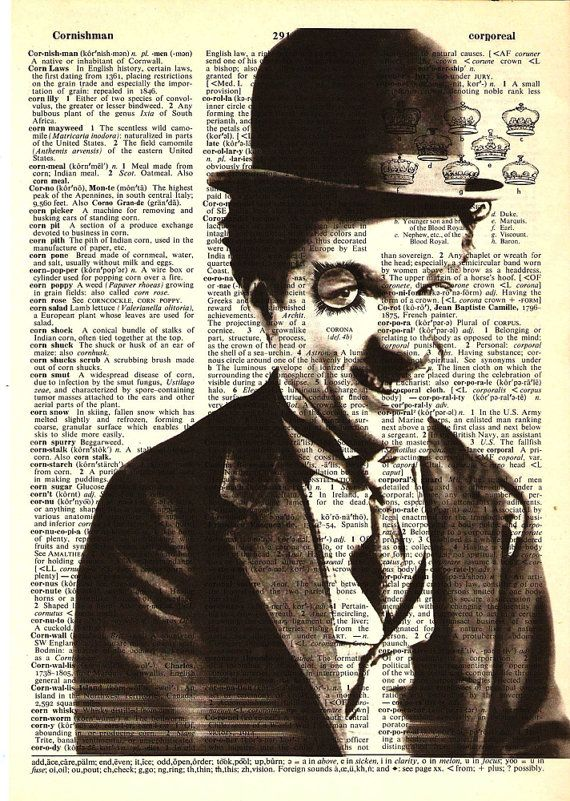 Charlie Chaplin- Print on Vintage repurposed paper