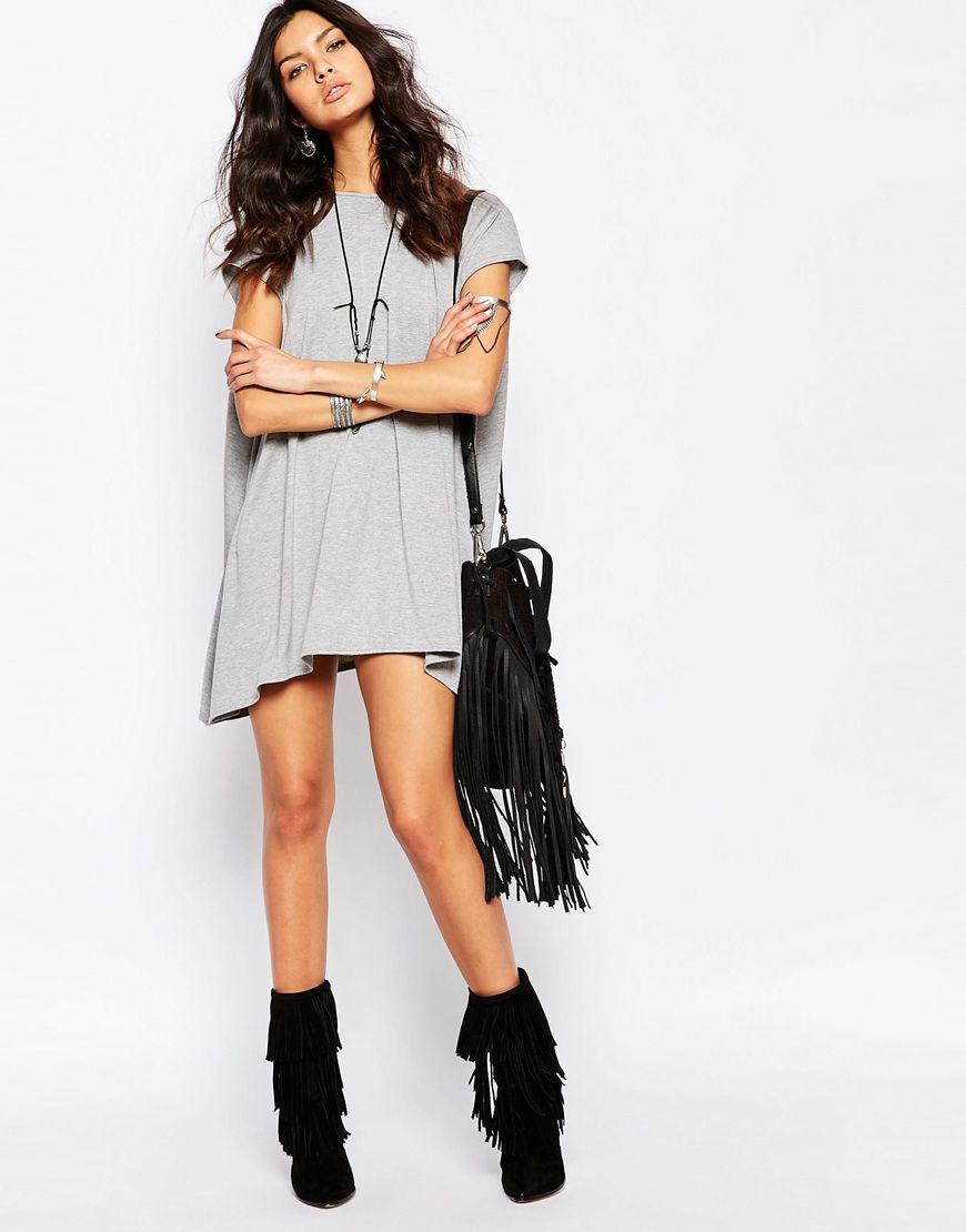 rokoko swing t-shirt dress with open back at asos | t