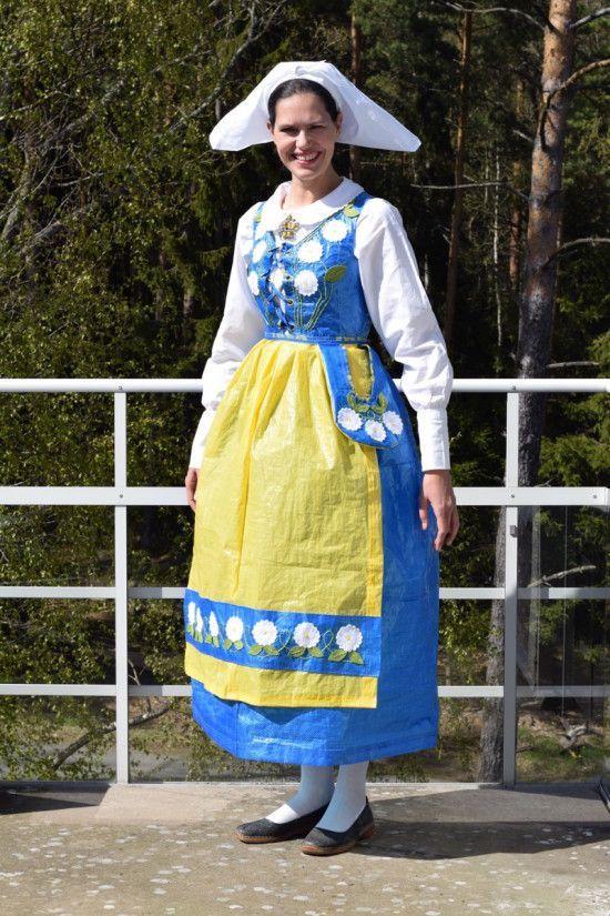 7eb7bb201d IKEA Bags Turned into Swedish Folk Dress - Neatorama