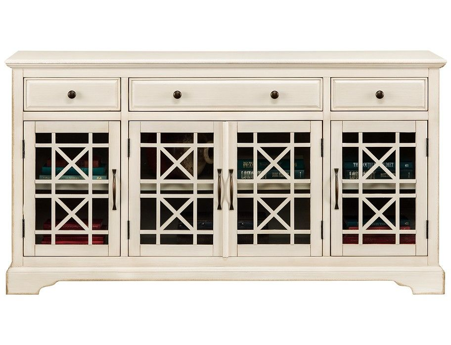 Chilton Collection Antique White Console Wooden Media Unit Glass Cabinet Doors Tv Stand