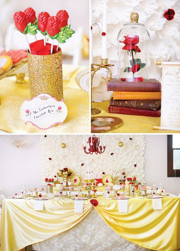Princess Belle Birthday Party Decorations Glittery Princess Belle Birthday Beauty & The Beast  Beast