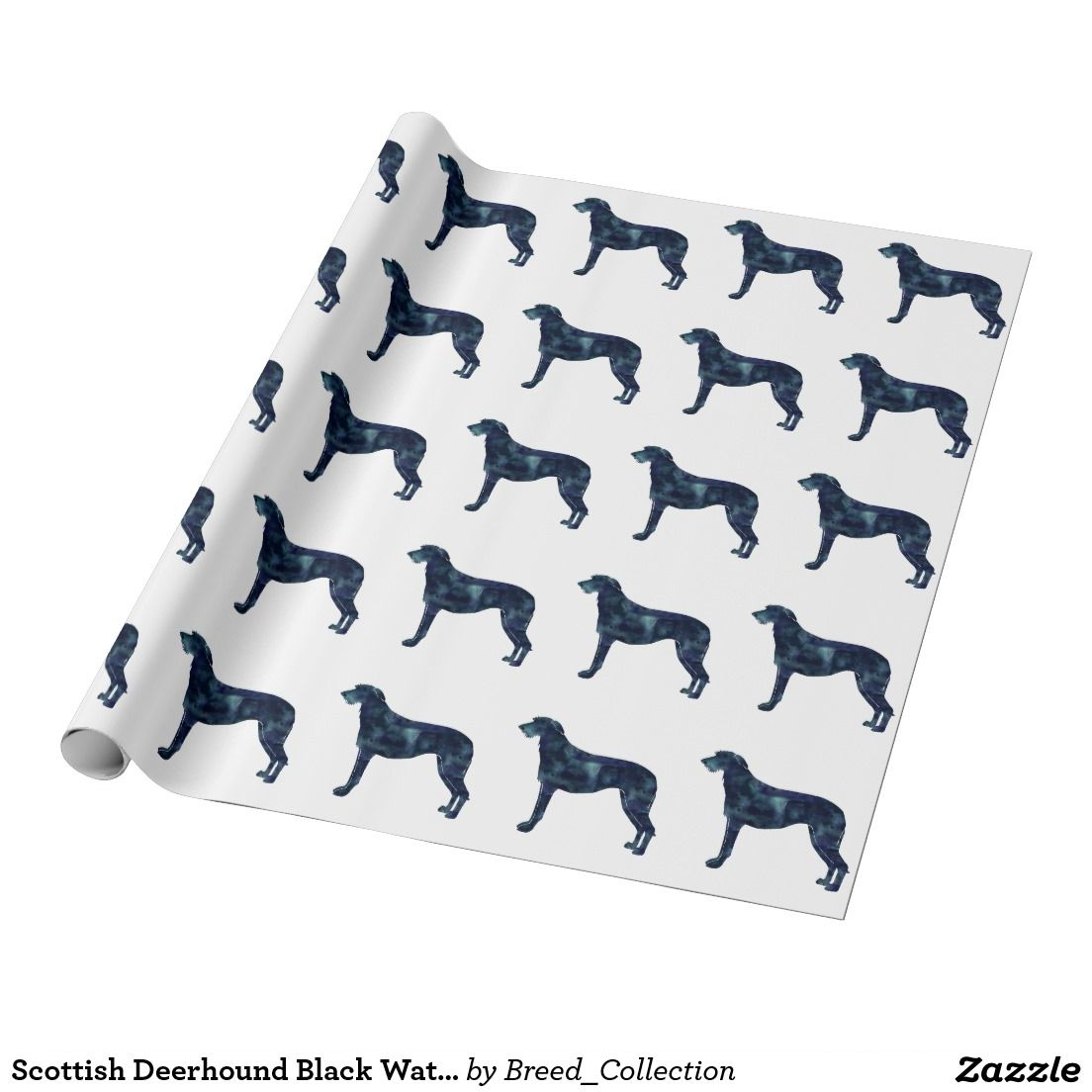 Scottish Deerhound Black Watercolor Silhouette Wrapping Paper