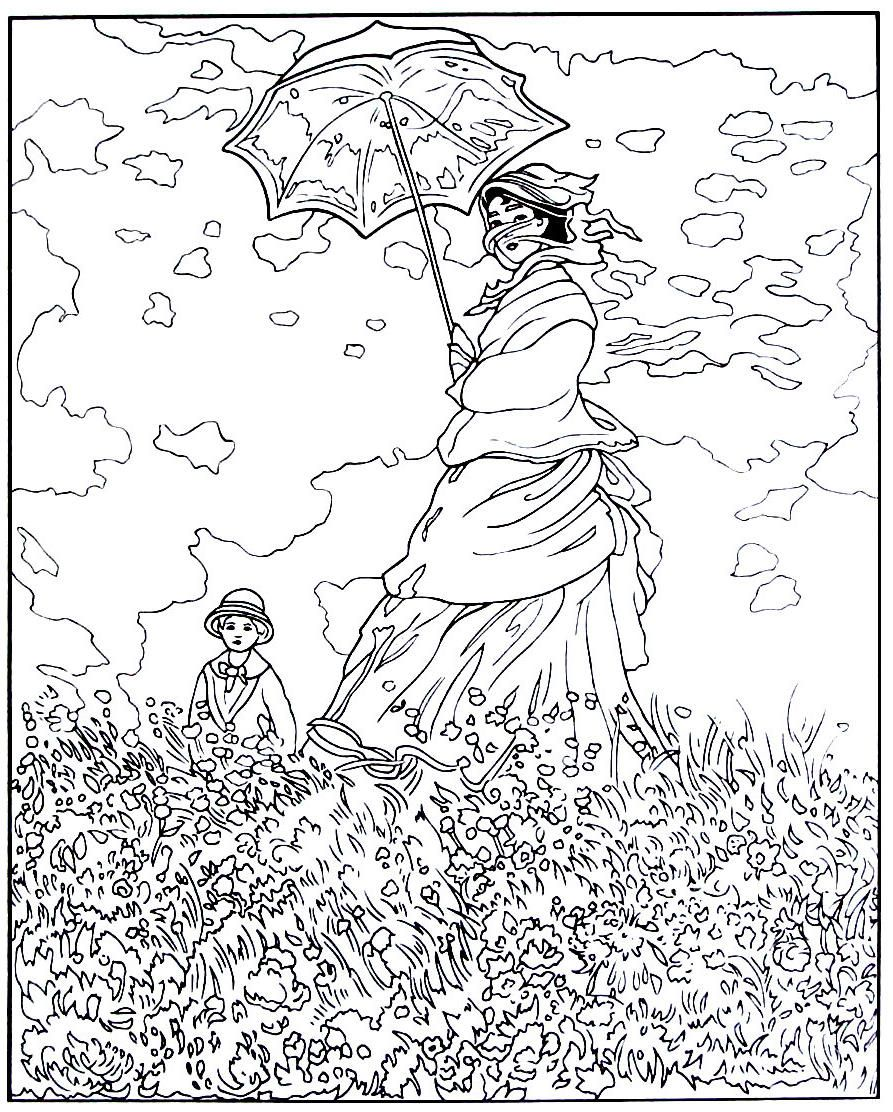 Woman with a parasol impressionist painting by claude for Impressionist coloring pages