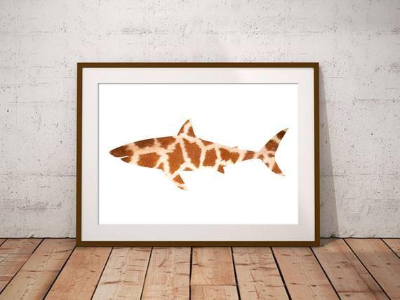 Giraffe Shark, Art Print, Home Decor, Animal Prints, Marine Life, Bathroom Decor, Giraffe Pattern, N #giraffepattern