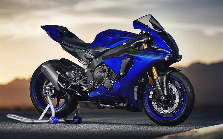 Download wallpapers Yamaha YZFR1, 2019, blue sports bike