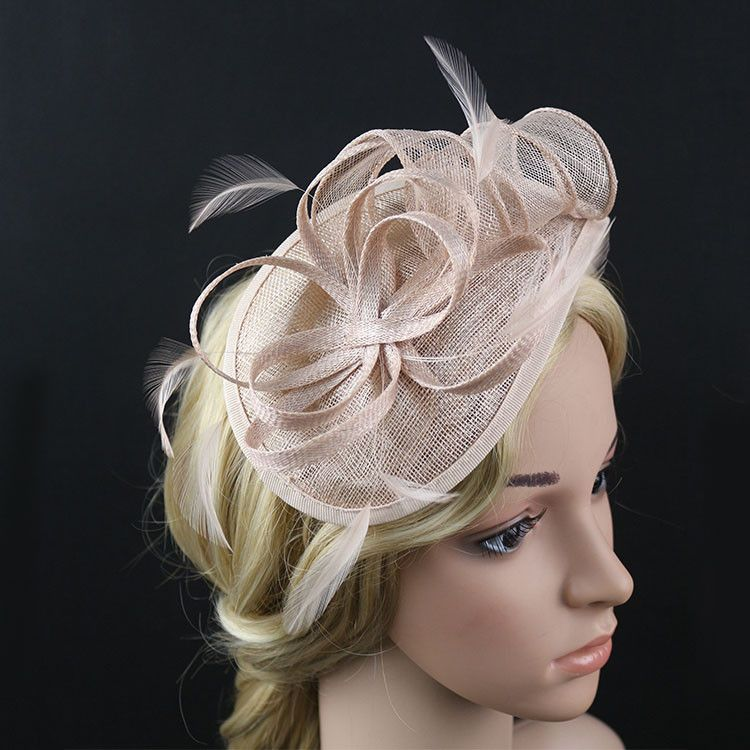 europ enne dame fleur plume sinamay chapeau de mariage fascinateur hairband cheveux accessoires. Black Bedroom Furniture Sets. Home Design Ideas