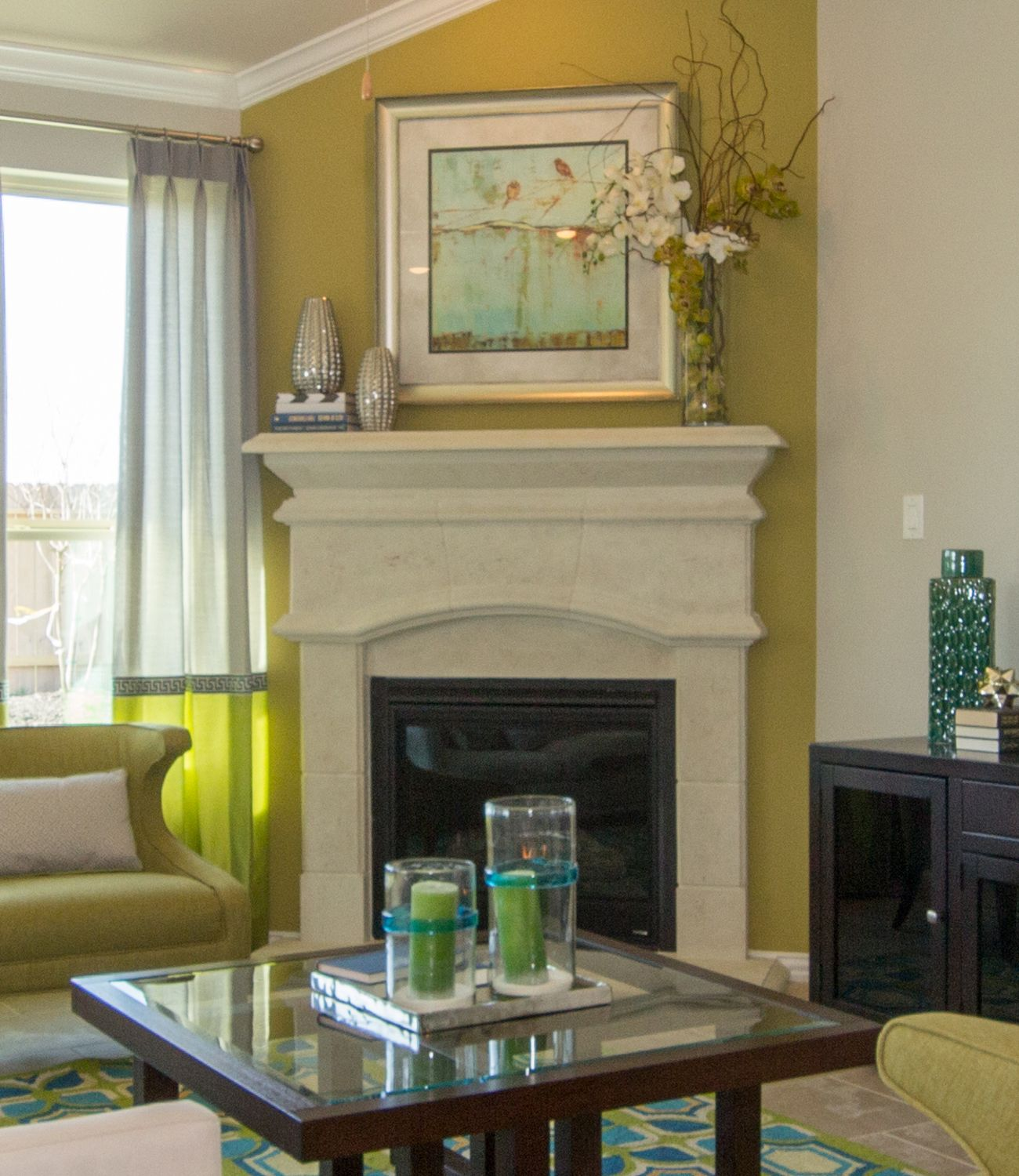 A Green Accent Wall And Coordinating Decor Accessorize