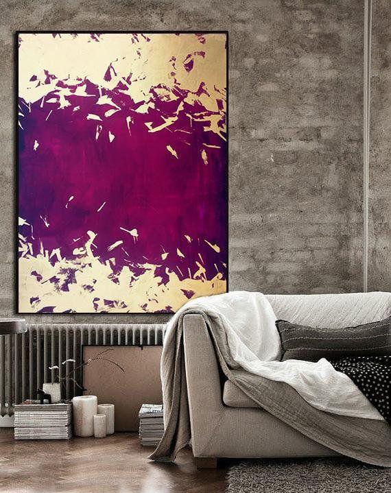 Energy Purple Indigo Large Abstract Oil Painting Oversize