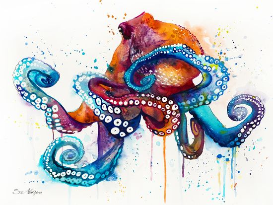 Pin By Foster Ginger On Art Octopus Pinterest Art Watercolor