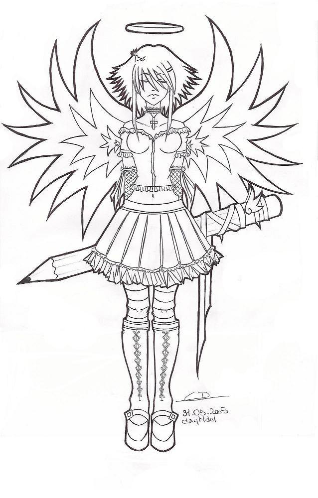 Coloriage ange d mon manga colo portrait coloriage manga coloriage et coloriage adulte - Mangas dessin ...