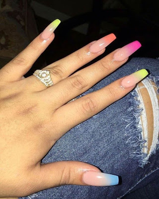 summer coffin nails design with glamor  ombre acrylic