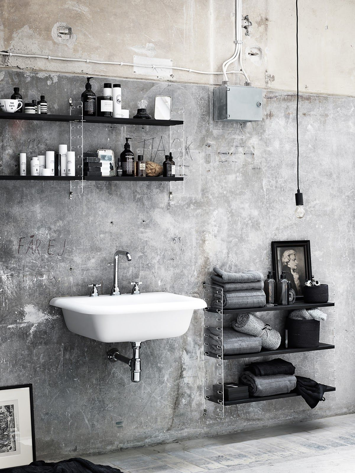 Raw industrial bathroom   Bathroom   Pinterest   Industrial ...