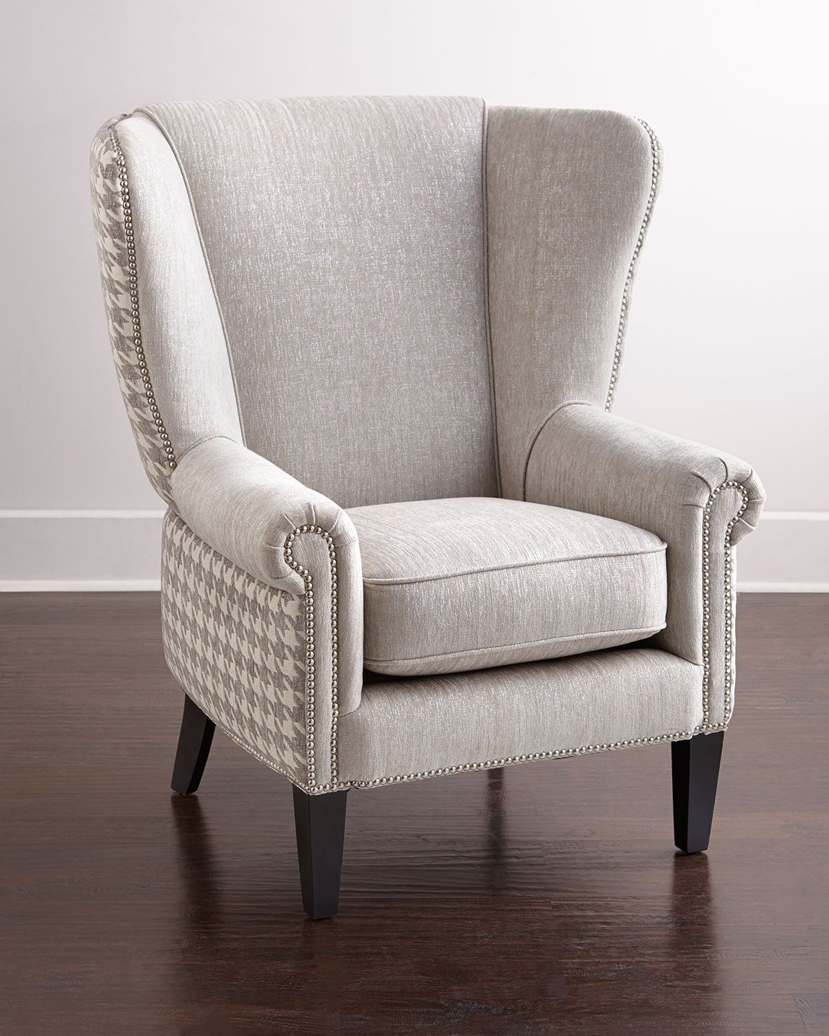 Wing chair has hardwood frame and acrylic polyester upholstery 32 5w x 36d x 45t seat 21w x 22 5d x 24 5t made in the usa of