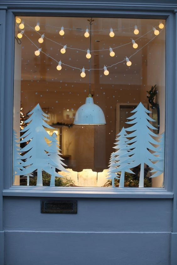 My office window winter decor pinterest window xmas for Office window ideas