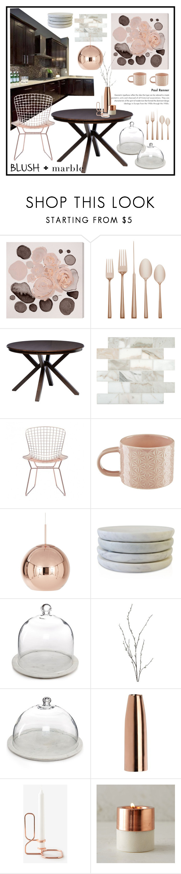 """""""blush+marble dining"""" by malgorzata-klamczynska ❤ liked on Polyvore featuring interior, interiors, interior design, home, home decor, interior decorating, Oliver Gal Artist Co., Kate Spade, I Love Living and Zuo"""