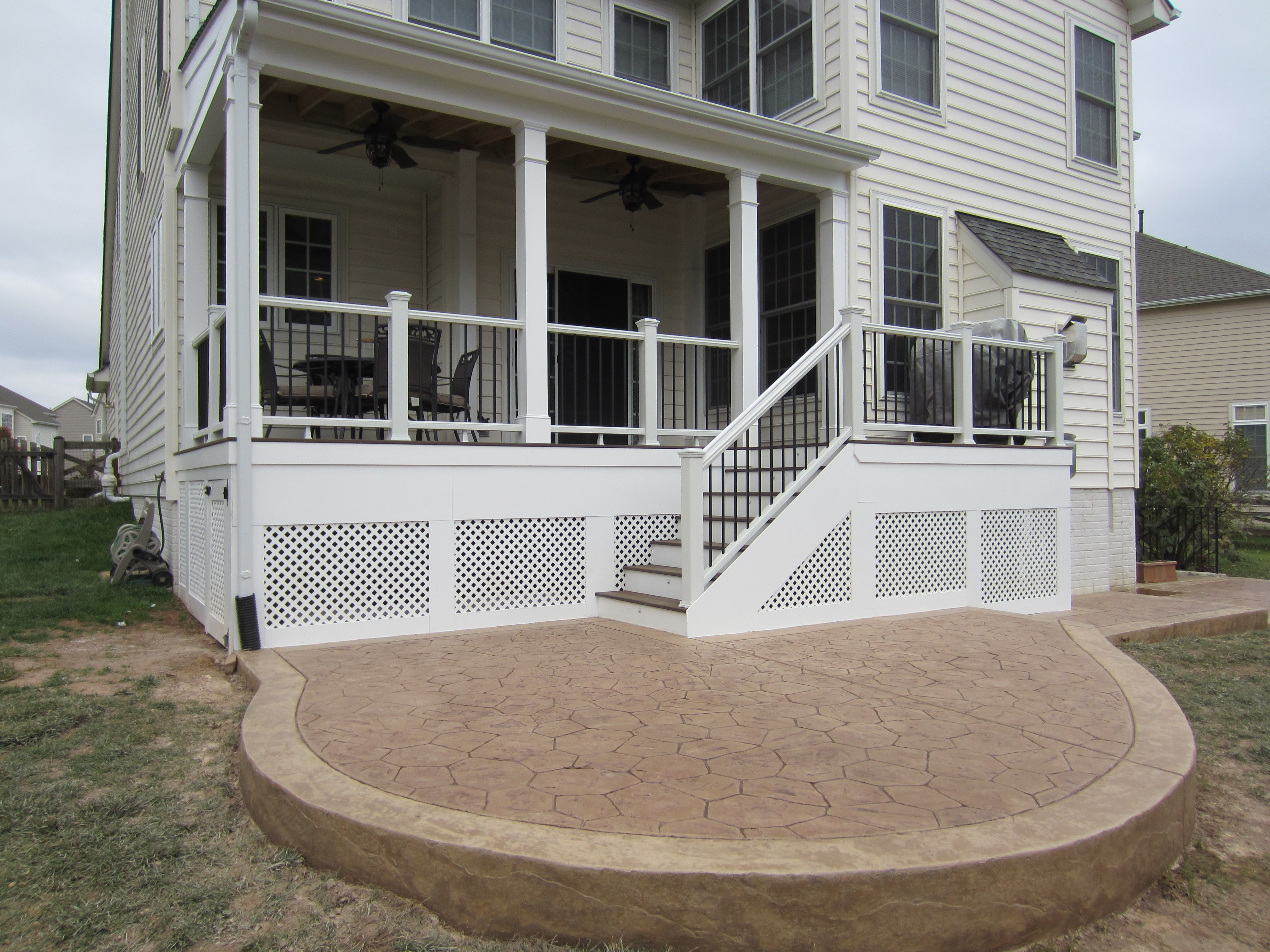 Screened In Deck And Stamped Concrete Patio Stamped Concrete