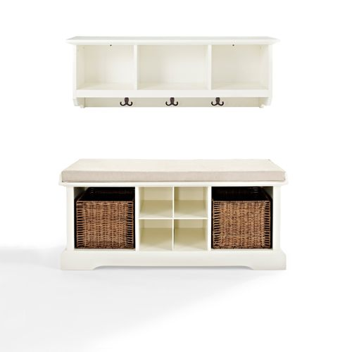 Brennan White Two Piece Entryway Bench and Shelf Set