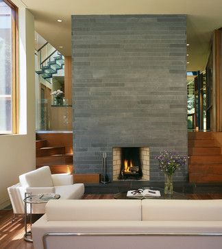 Modern Fireplace With Horizontal Slate Tile Charles Rose
