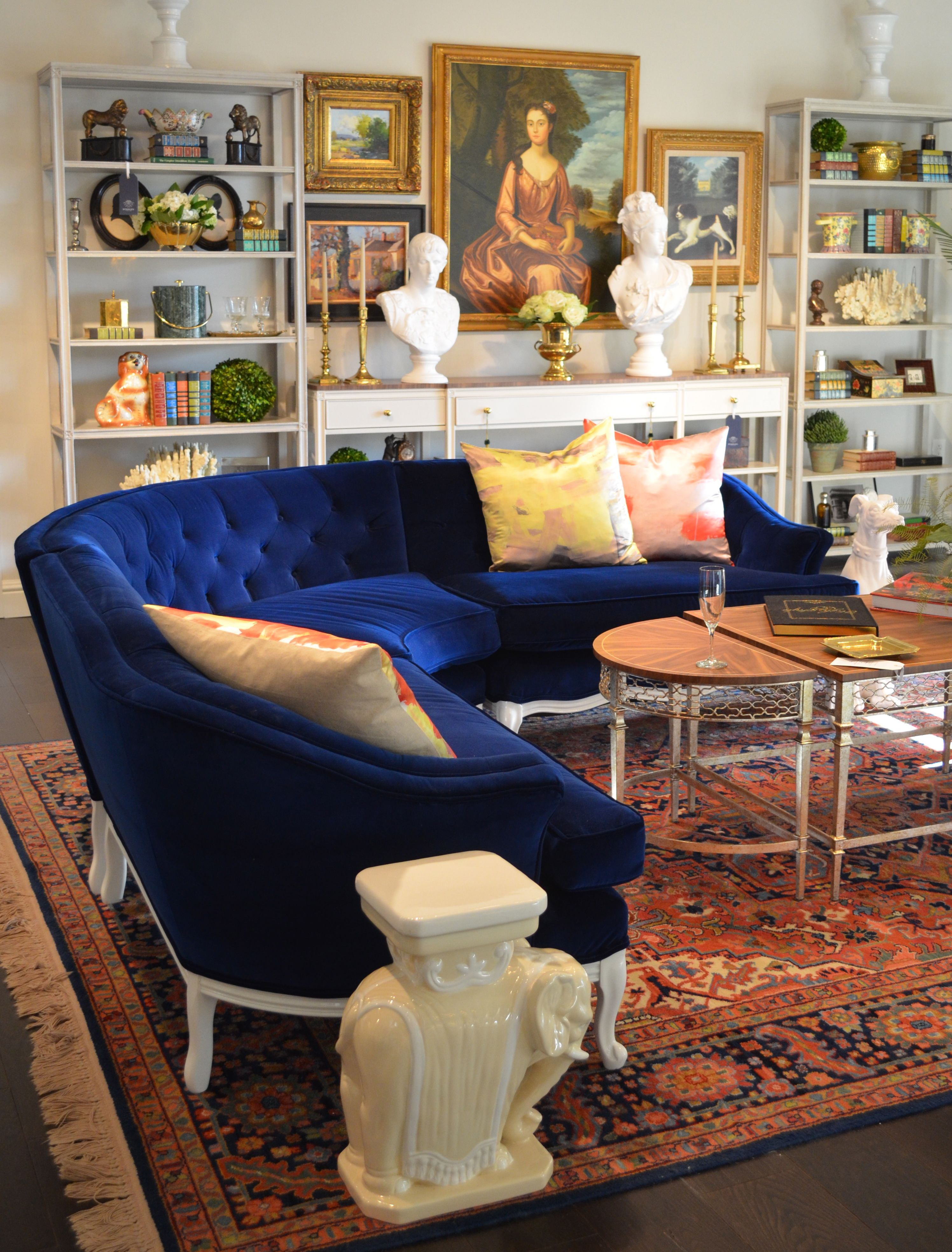 Vintage blue velvet curved sofa from parker kennedy located in stanley showroom cr laine hpmarket continuing the trend of upcycle and hollywood game