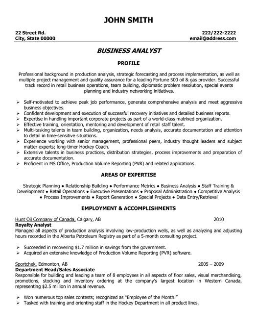 business analyst resume canada sample