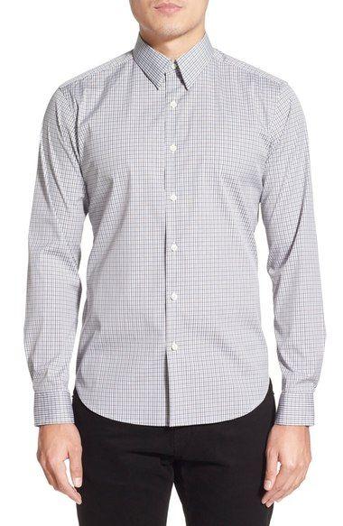 THEORY 'Sylvain' Trim Fit Long Sleeve Check Plaid Sport Shirt. #theory #cloth #