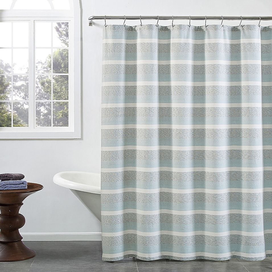 Kas Room Zerena Striped 72 X 96 X Long Shower Curtain In Aqua In