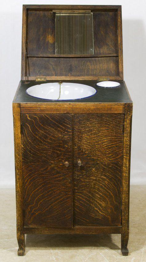 Oak Wash Basin Cabinet Lot 525