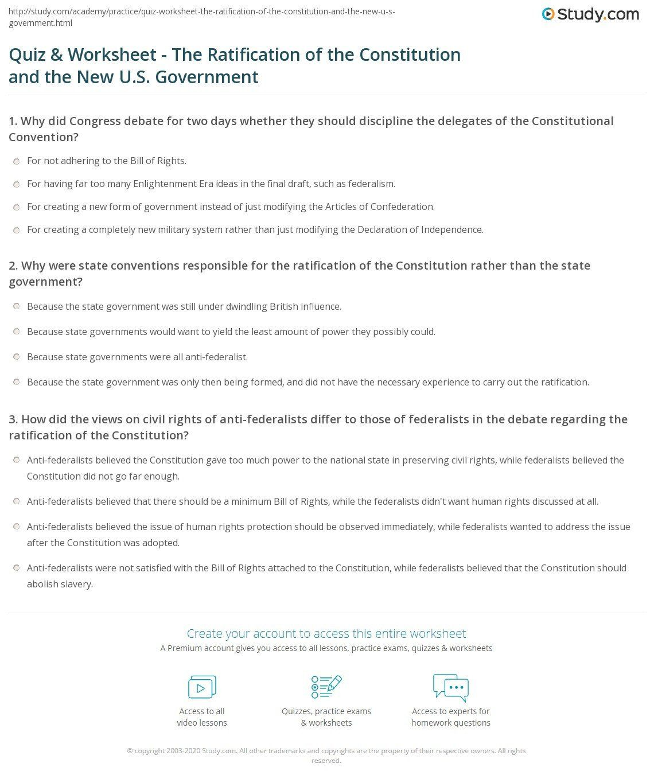 Articles Of Confederation Worksheet U S Constitution
