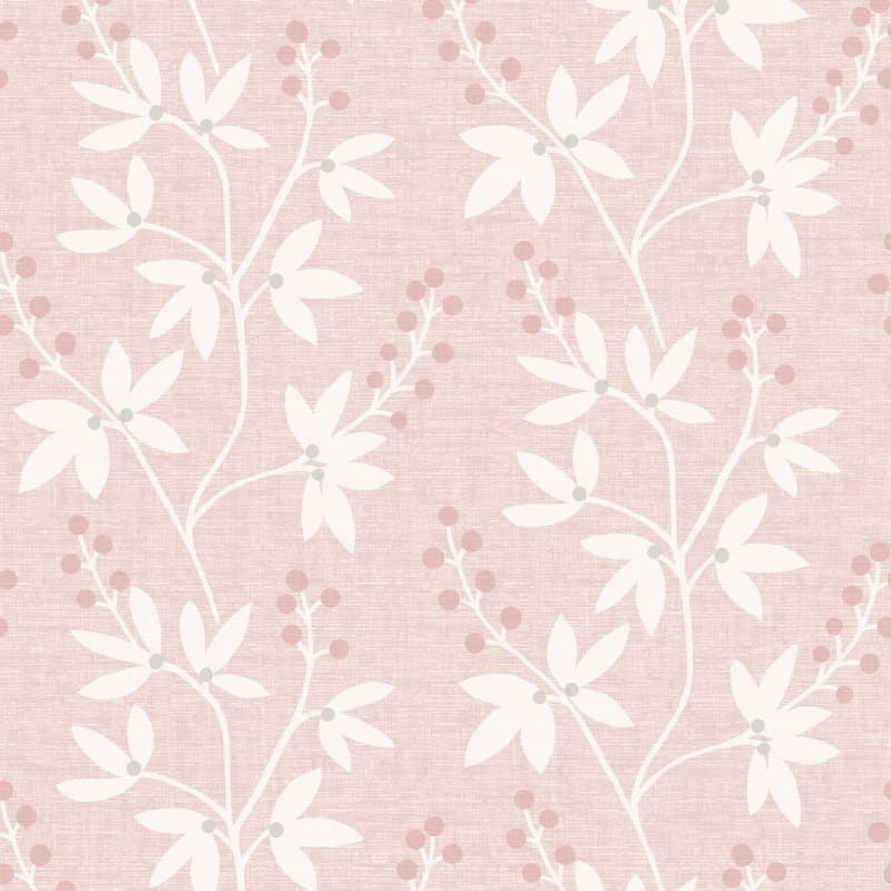 Brewster 2535-20615 Pink Currant Pink Botanical Trail Wallpaper