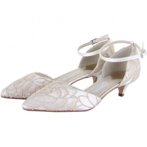 da09f9de7cc8 Albany by Rainbow Couture for Rainbow Club Designer Ivory or White Satin  Gold Embroidered Kitten Heel Vintage Dyeable Wedding or Occasion Shoes