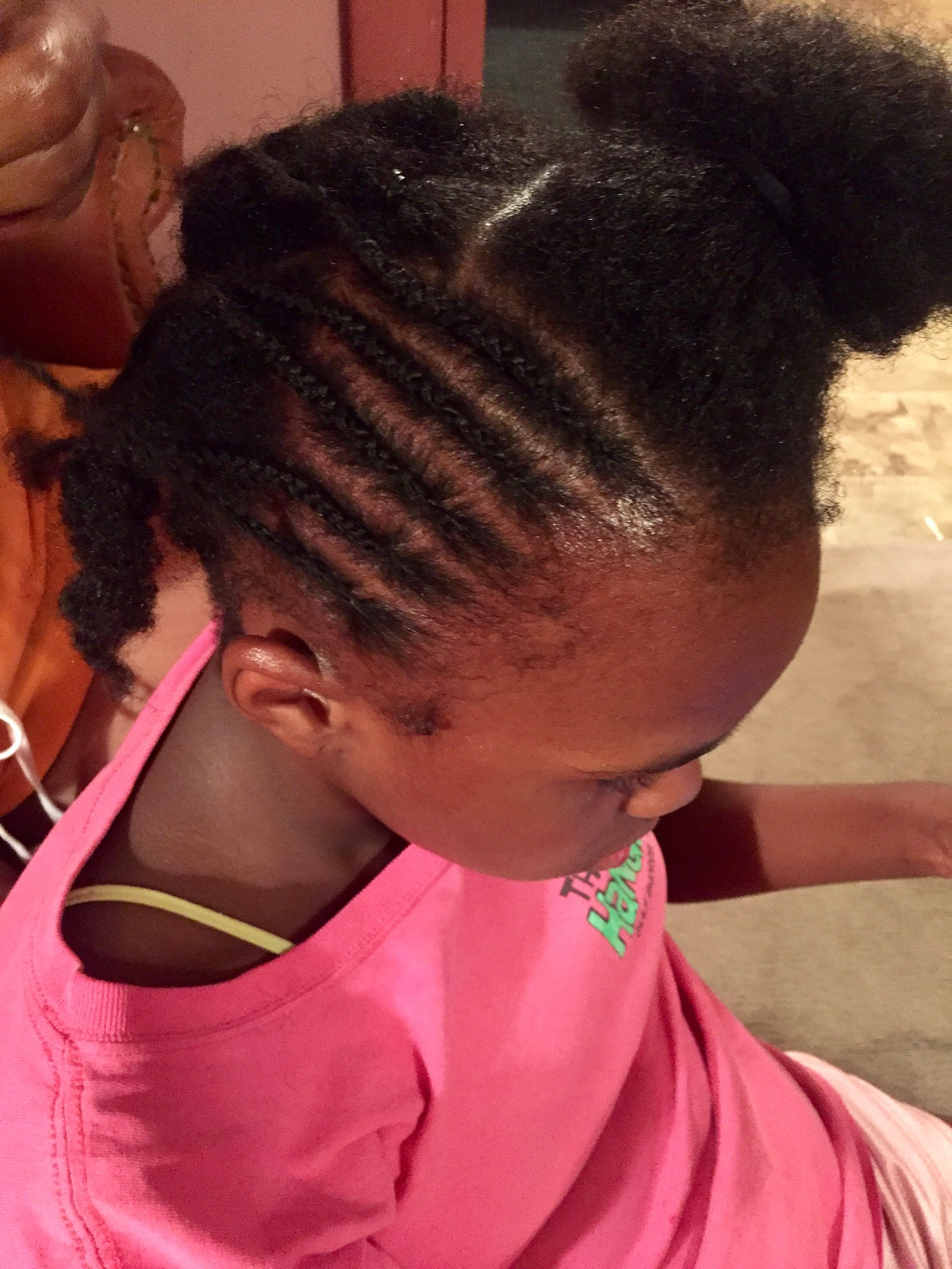 Pain before beauty baby girl braiding process team natural