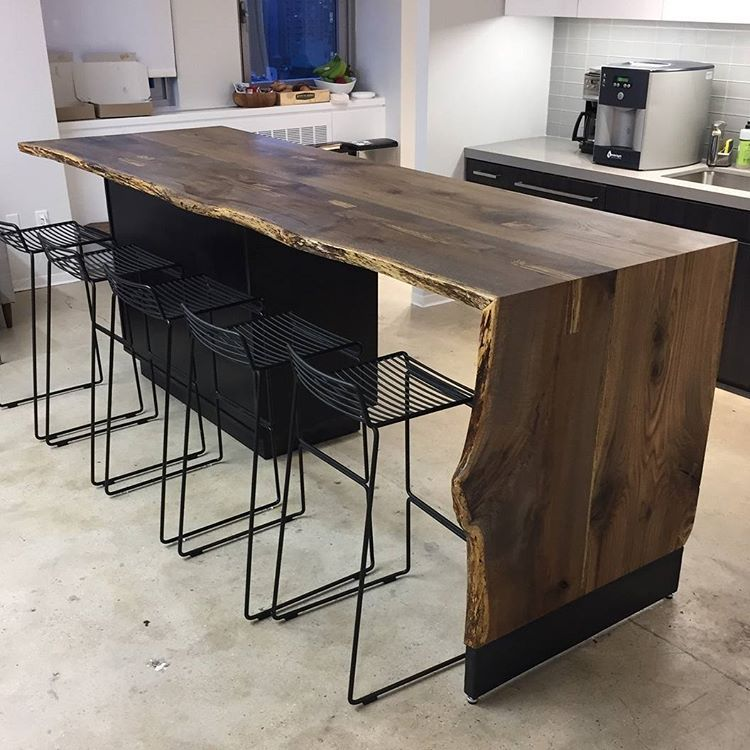 Live Edge Black Oak Waterfall Table Installed Today Furnituredesign Furniture Interiordesign Kitchen Remodel Small Live Edge Wood Table Kitchens Live Edge