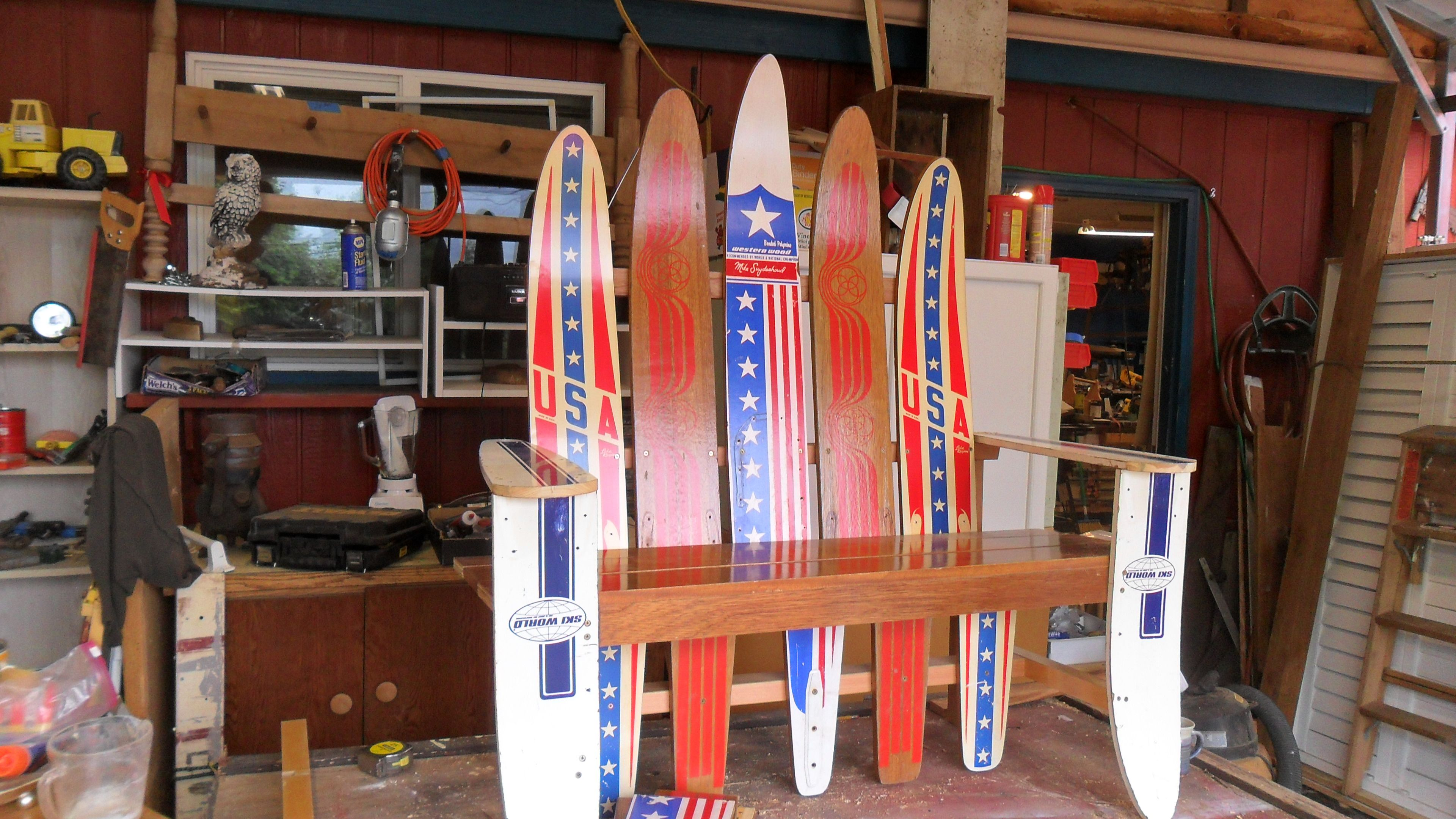 Water Ski Bench From Old Wood Skis