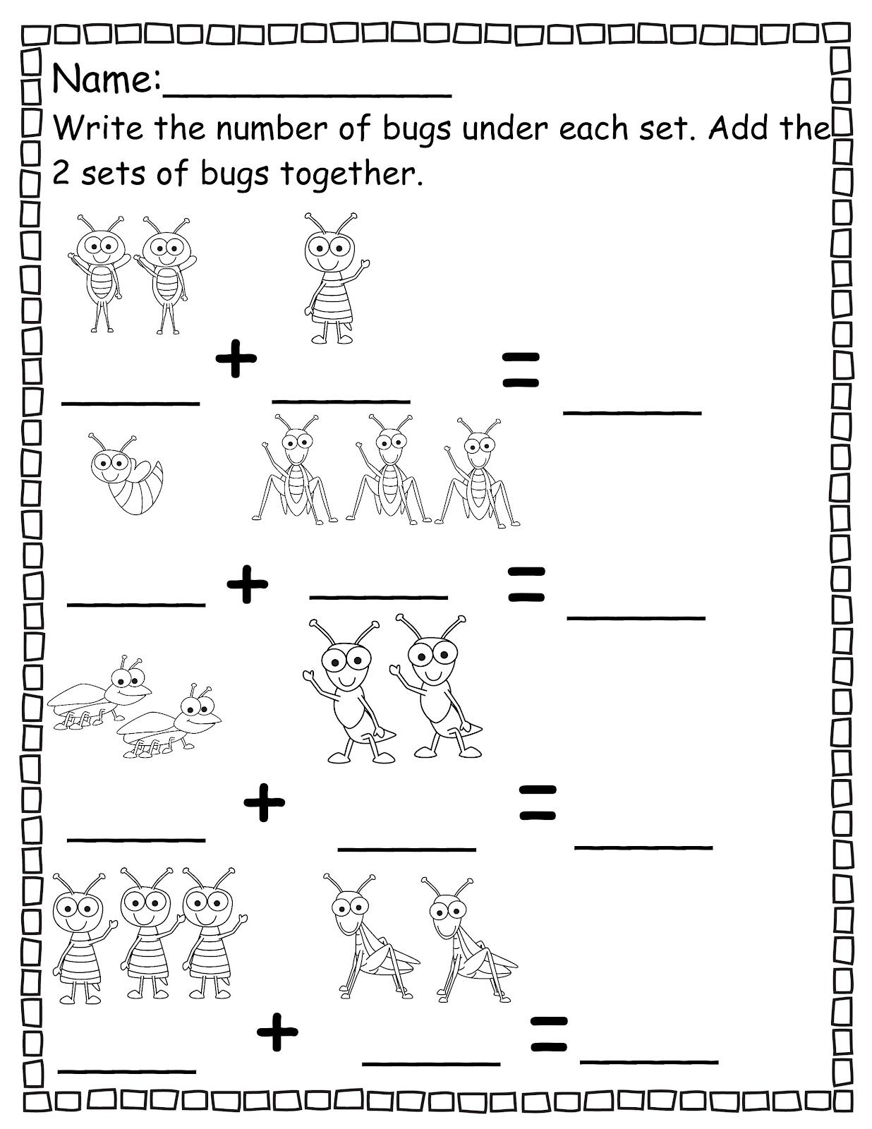 Pre K Addition Worksheets